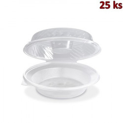 Salátová miska průhledná s víčkem na dresink misku, 1600 ml (PP) [25 ks]