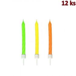 Narozeninové svíčky neon se stojánkem 60 mm [12 ks]
