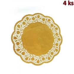Dekorativní krajky kulaté, zlaté Ø 32 cm